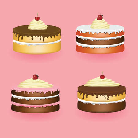 four cakes, pink background