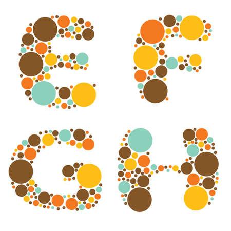 alphabet - part two - E, F, G, H Stock Vector - 8801729