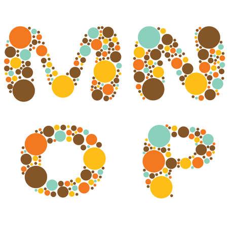 alphabet - part four - M, N, O, P Stock Vector - 8801731