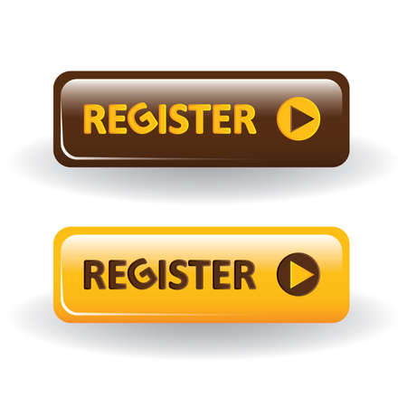 register button: register buttons - brown and yellow Illustration