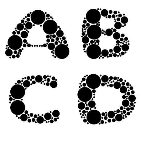 alphabet, black color - part one - A, B, C, D Stock Vector - 8911362