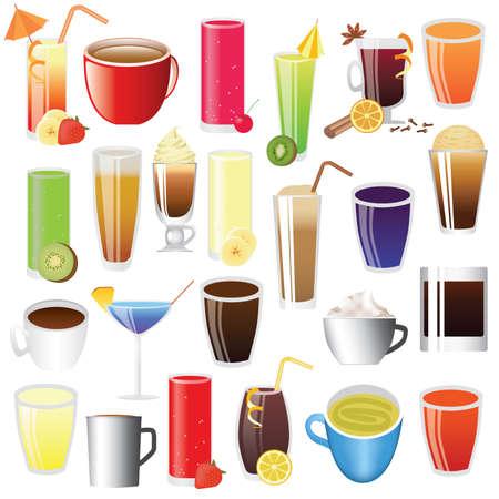 drank - limonade, koffie, tee, coctail Vector Illustratie