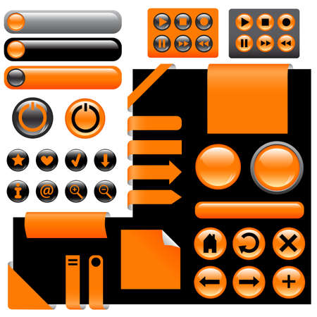 website design elements - buttons in orange color Stock Vector - 8911356