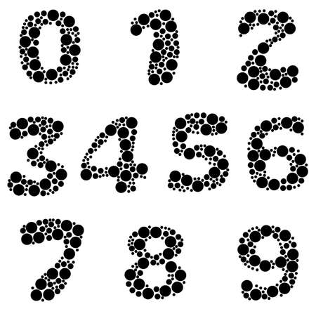 alphabet, black color - part eight - numbers Stock Vector - 8911364