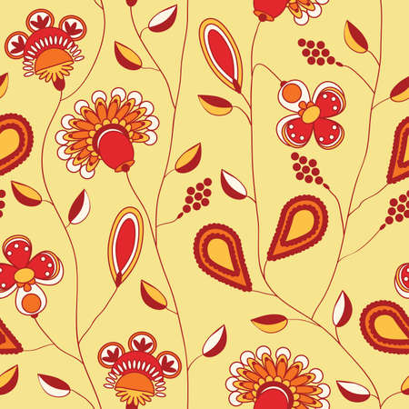 seamless pattern - red, orange and yellow flowers Vector