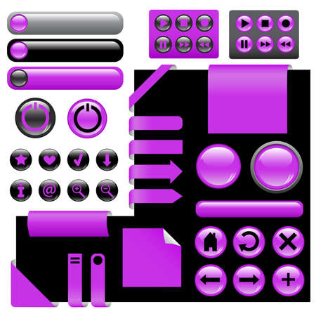 website design elements - buttons in violet color Stock Vector - 8978196