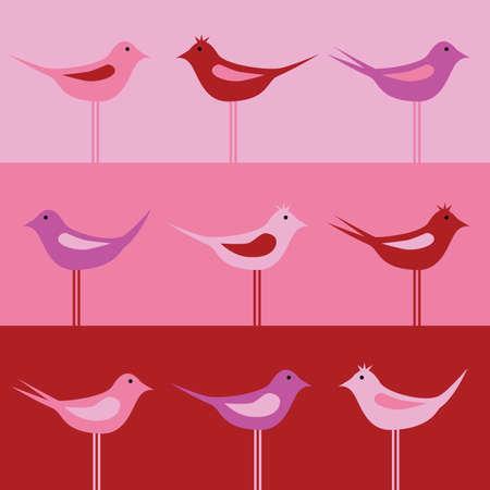 lila: birds - seamless pattern Illustration