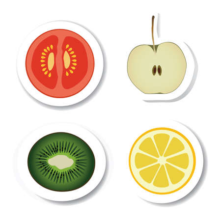 stickers - vegetable and fruit Vector