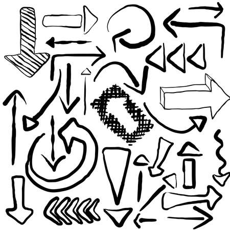 arrows - doodle set, black color Vector