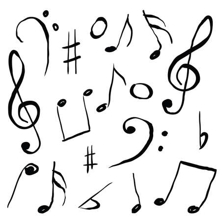 music sheet: music sheet - doodle set, black color Illustration