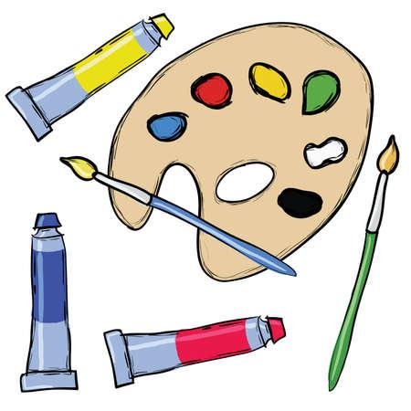 red tube: conjunto de pintura - paleta, pincel, tubo de Temple Vectores