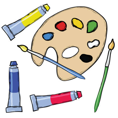 painting set - palette, brush, tube of tempera