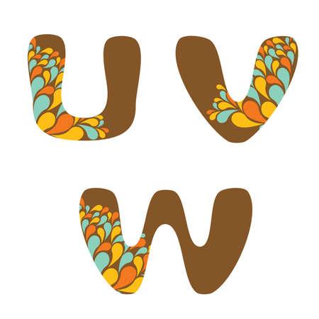 alphabet - part six - U, V, W Vector