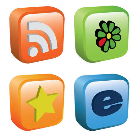 icq: collection of web icons - rss, icq, fav, ie Illustration