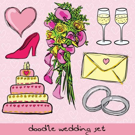 doodle wedding set Vector