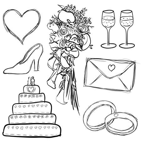 doodle wedding set Illustration