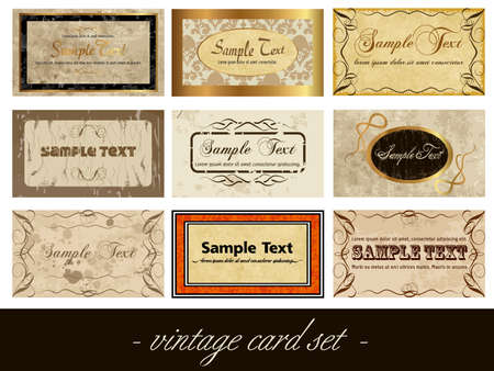 vintage card set Vector