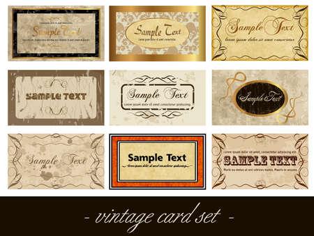 vintage card set Vector