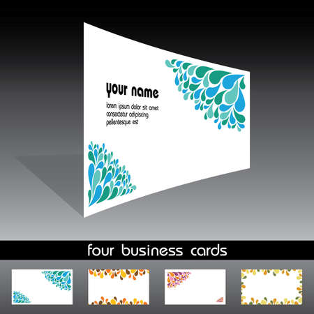 pattern corporate identity orange: four business cards Illustration