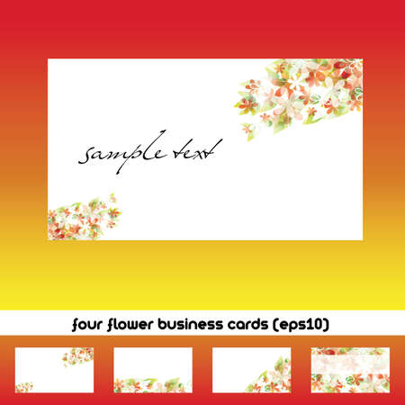 name card: four business cards with flower theme