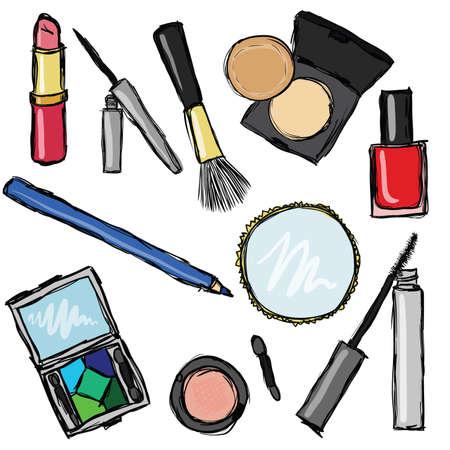 eyebrow makeup: collezione di cosmetici Vettoriali