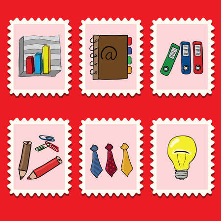 adress book: stamps collection - business set Illustration