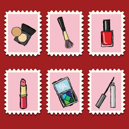 stamps collection - cosmetics set Vector