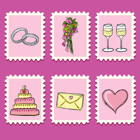 stamps collection - wedding set Vector
