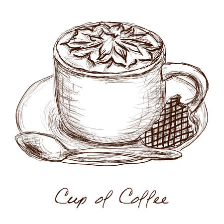 latte: cup of coffee - doodle picture