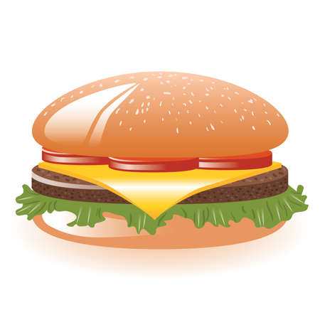 hamburger with lettuce, tomato, cheese and meat Vector