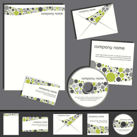 business template collection - green and gray Vector