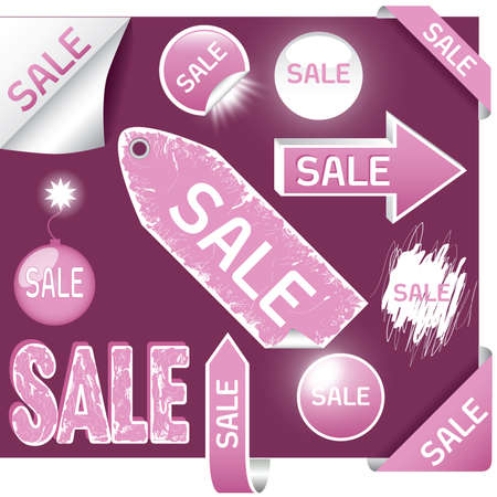 set of sale labels - pink and white colors, EPS10 Vector