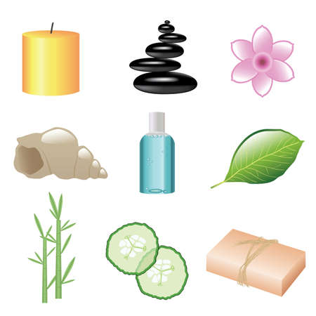 massage stones: set of spa web icons
