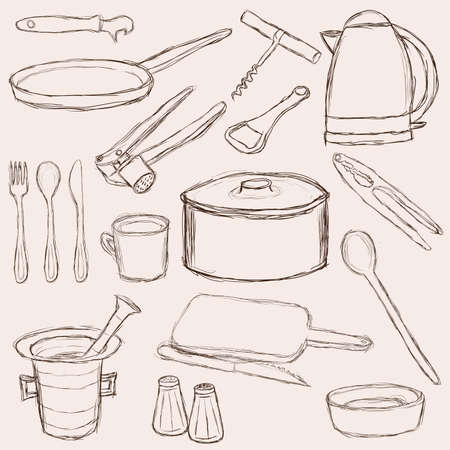 big set of doodle kitchen equipment Vector