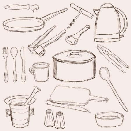 utensilios de cocina: gran conjunto de equipos de cocina doodle Vectores