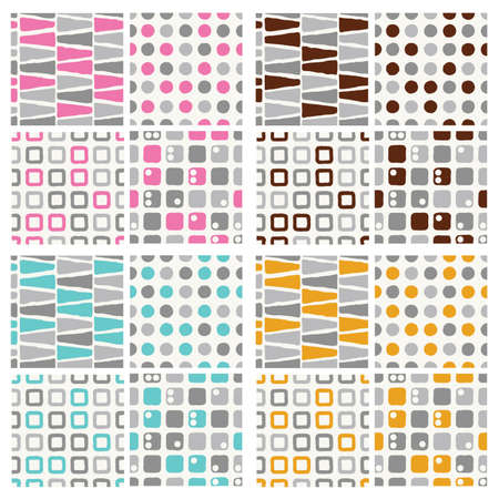 set of seamless pattern - grey with pink, brown, blue and orange Vector