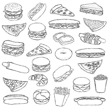 big doodle fast food set Illustration