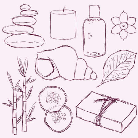 spa still life: set of doodle spa pictures