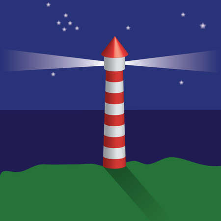 lighthouse at night, shining stars Vector