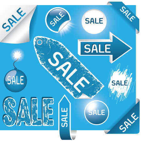 set of sale labels - blue and white colors, EPS10 Vector