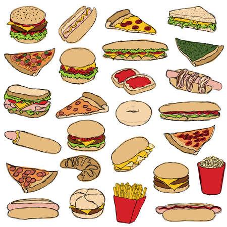 spinat: gro�e Doodle-Fast-Food-Satz Illustration