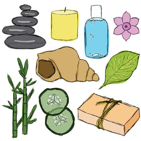 bamboo therapy: set of doodle spa pictures