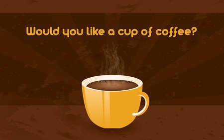 shingles: horizontal retro poster - cup of coffee