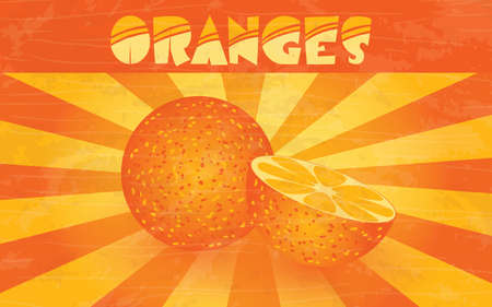 shingles: horizontal retro poster - oranges