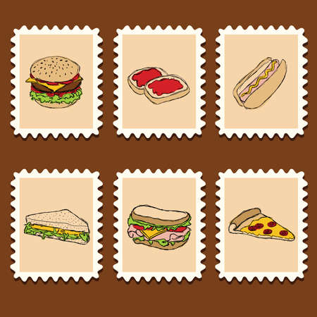 set of doodle fast food on the stamps Vector