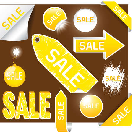 set of sale labels - yellow and white colors, EPS10 Vector