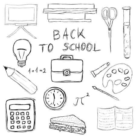 calendario escolar: regreso a la escuela doodle conjunto Vectores