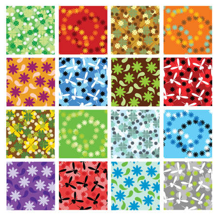 set of 16  floral seamless patterns Stock Vector - 10200908