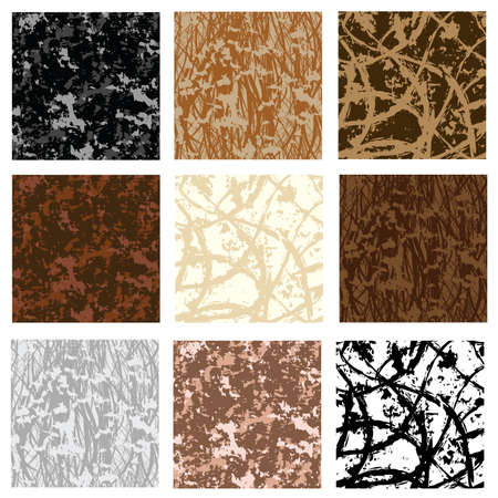 set of nine grunge seamless patterns