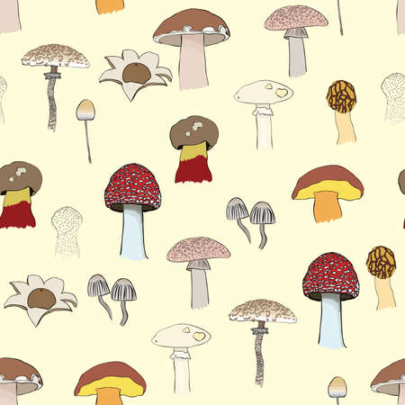 toxic mushroom: pattern with mushrooms Illustration